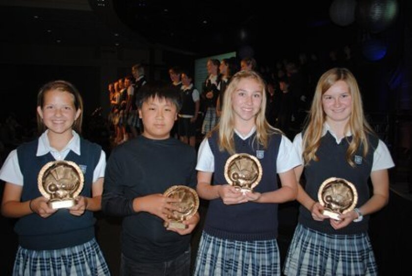 The Horizon Prep Apostle Paul Academic Award is given to one student from each 5th-8th grade for outstanding academic performance while living a life of Godly character.  (L-R) Sydney Sparks, Yechan Choi, Kirsten Hilling and Makaela Lawson.