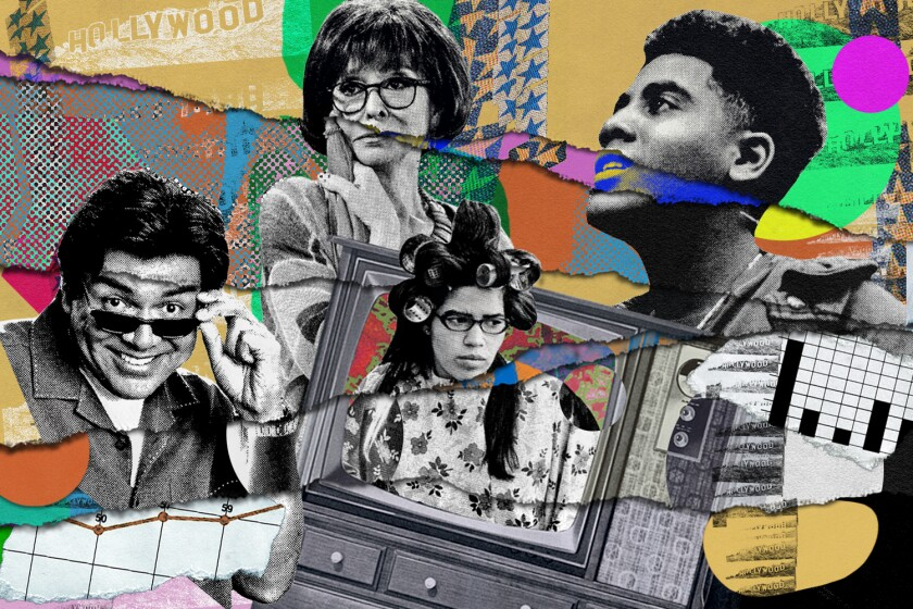 An illustration depicting Latinx characters on television through the years.