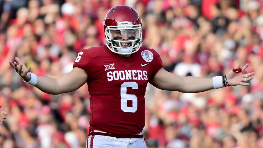 Oklahoma quarterback Baker Mayfield reacts after there is no penalty call on a pass during the second quarter of the Rose Bowl game against Georgia on Jan. 1.