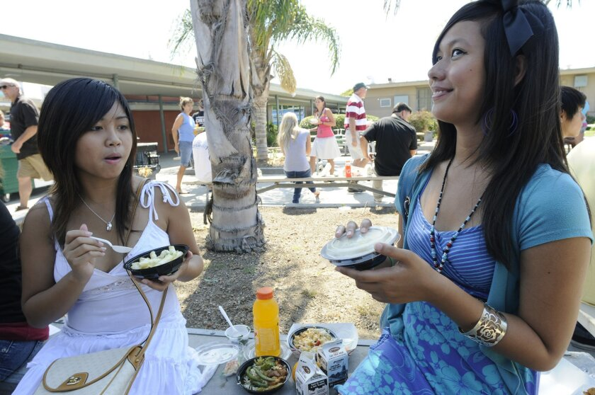Crawford High School students (from left) Lerika Sales, 17, and Carolina Pecadeso, 15, sampled the San Diego Unified School District's updated menu during a lunch preview at Mission Bay High School yesterday. (David Brooks)