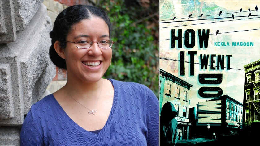 "Author Kekla Magoon and the cover of her book ""How It Went Down."""