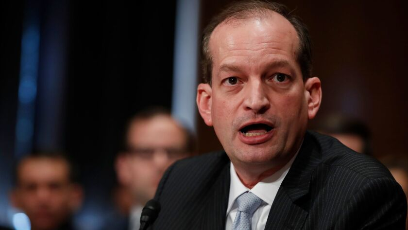 Labor Secretary Alexander Acosta testifies in March at his confirmation hearing before the Senate Health, Education, Labor and Pensions Committee.