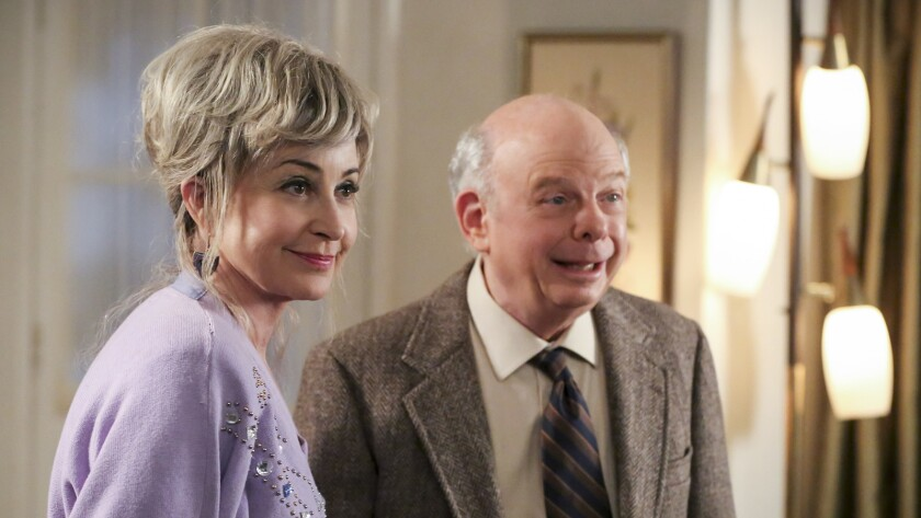 """Annie Potts and Wallace Shawn in """"Young Sheldon"""" on CBS."""