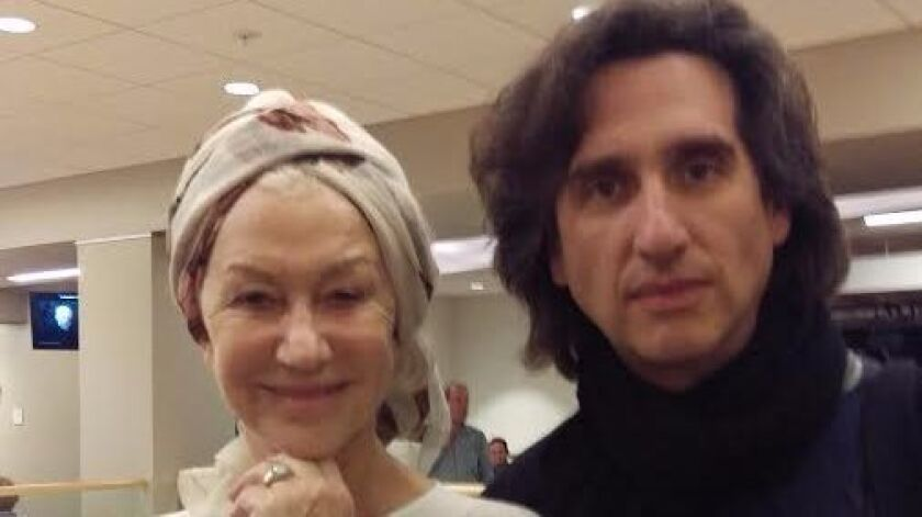 "Dame Helen Mirren with Hershey Felder on Feb. 8 at the San Diego Repertory Theatre's Lyceum Stage, where he is starring in ""Our Great Tchaikovsky."""