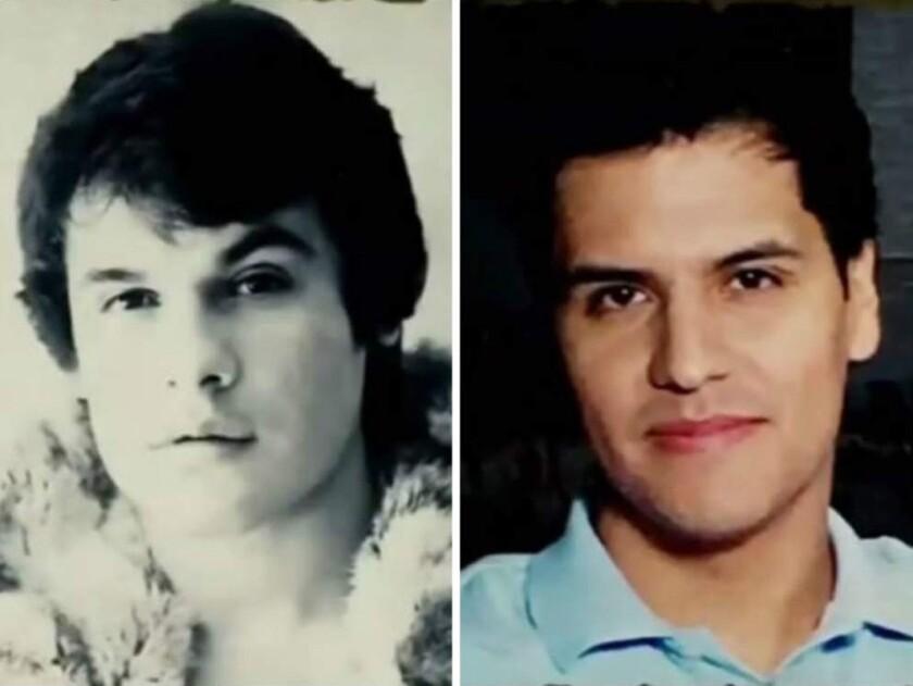 Juan Gabriel (i) y Luis Alberto Aguilera, su hijo, de acuerdo a resultados de pruebas de ADN.