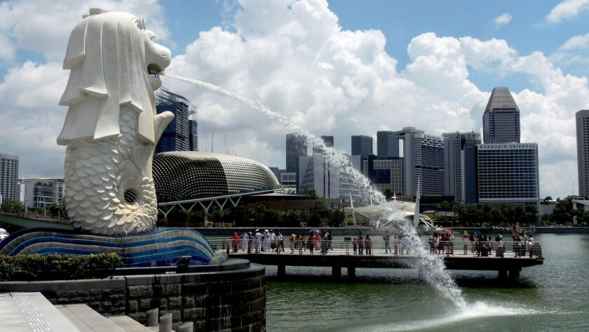 Merlion fountain in Singapore.