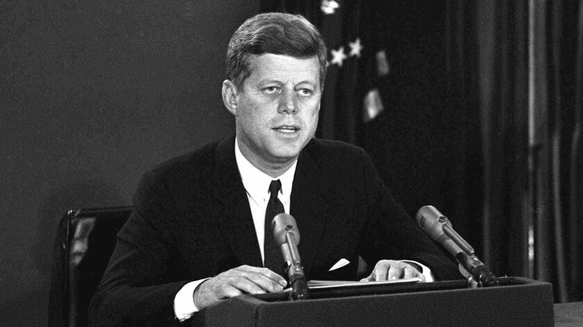 President Kennedy makes a nationally televised speech in 1962.
