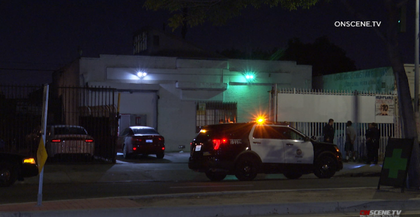 Police investigate a shooting at an unlicensed marijuana dispensary in South Los Angeles early Thursday.