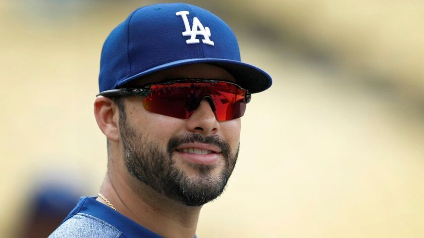 Dodgers outfielder Andre Ethier watches batting practice prior to the game against the Chicago Cubs at Dodger Stadium on May 26.