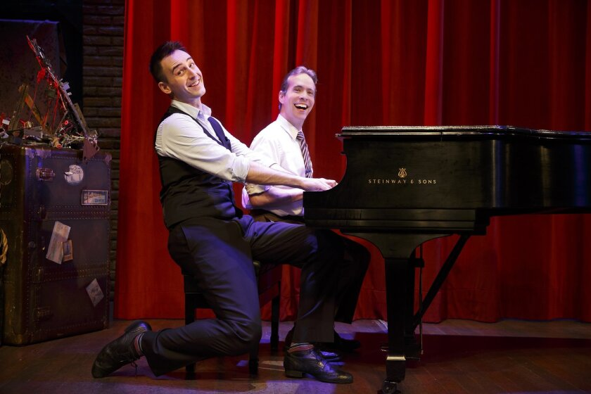 """Joe Kinosian (left) and Ian Lowe in """"Murder for Two"""" at the Old Globe Theatre."""