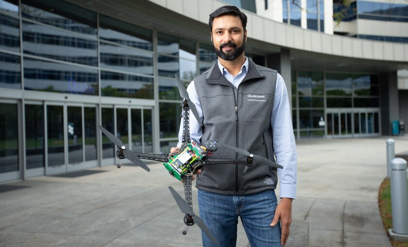 Qualcomm's Dev Singh with the company's drone reference design development kit