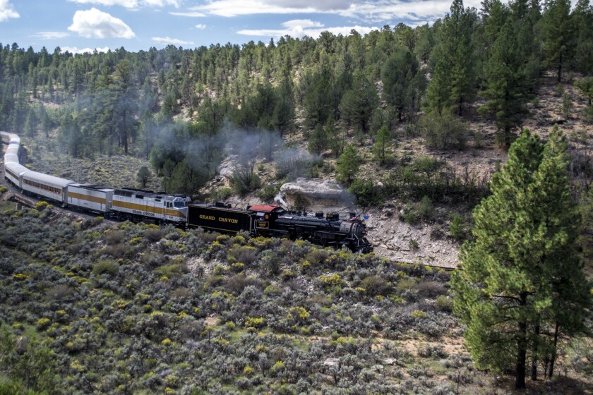 The Grand Canyon Railway runs between the South Rim of the canyon and Williams, Ariz.