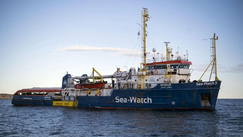 The Sea-Watch rescue ship waits off the coast of Malta, Tuesday, Jan. 8, 2018. Two German nonprofit