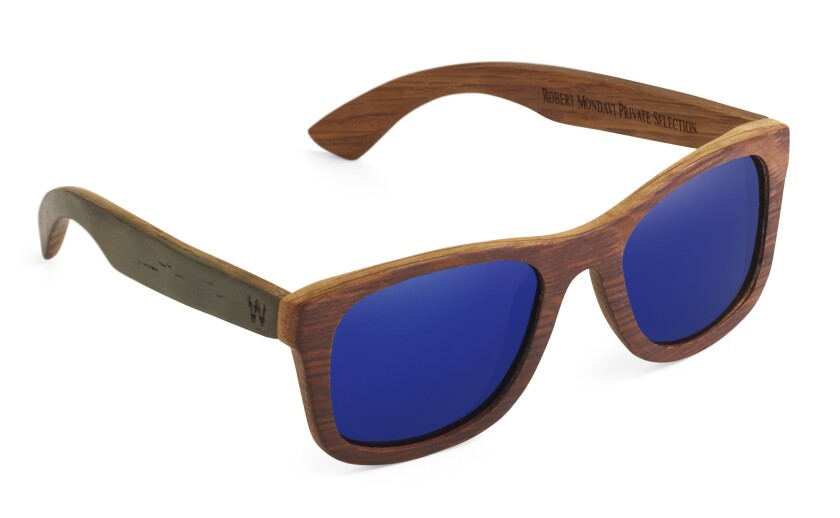 Robert Mondavi Private Selection X Woodzee Sierra Sunglasses with blue polarized lenses. The frame is made from recycled oak wine barrels.
