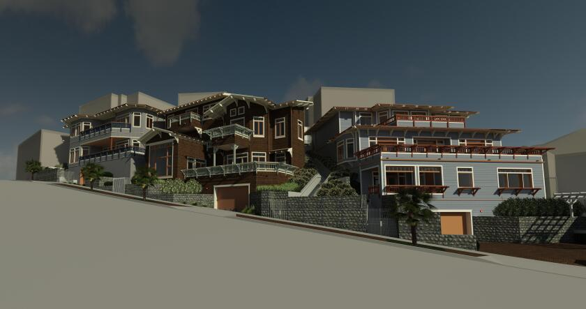 A rendering of the La Jolla Bay Homes project, designed by Alcorn & Benton Architects