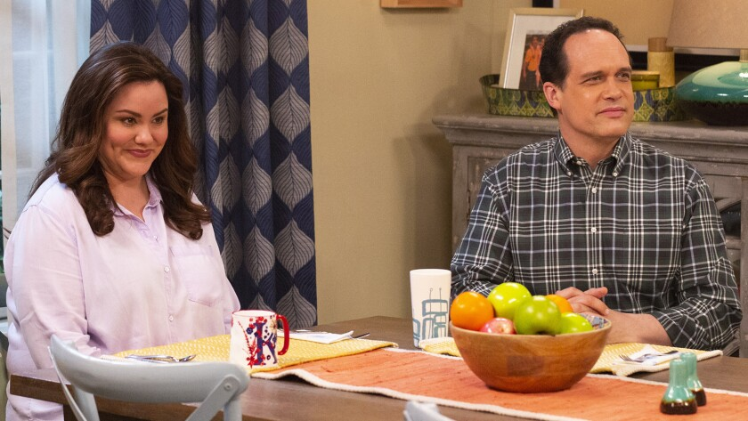 "Katy Mixon and Diedrich Bader in ""American Housewfe"" on ABC."