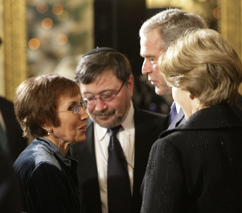 Ruth Pearl and her husband Judea Pearl, center, talk with President George W. Bush at the White House
