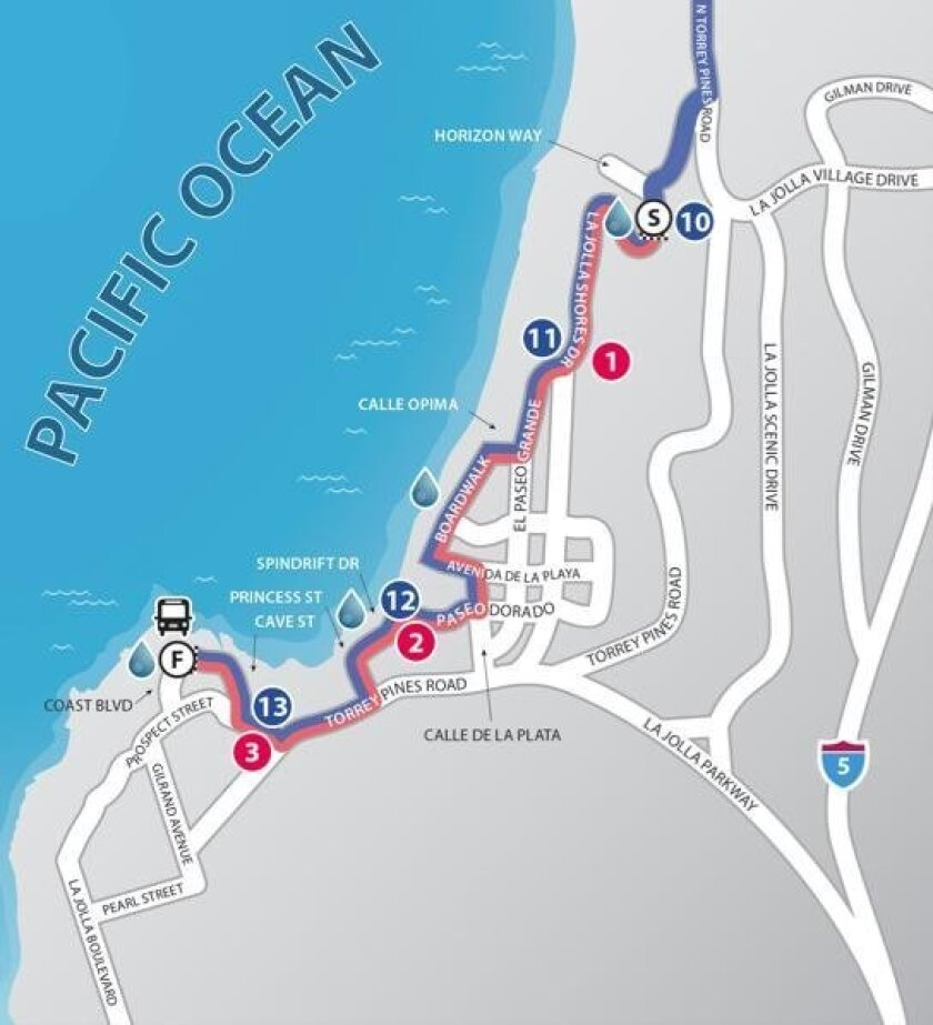 Courses for La Jolla Half Marathon (blue line) and La Jolla Shores 5K (red line)