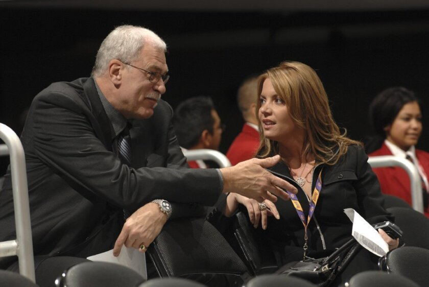 """""""I'm just supporting Jeanie in the decisions that are important for the ballclub to make, whatever that is,"""" former Lakers coach Phil Jackson says of his fiancee, Jeanie Buss."""