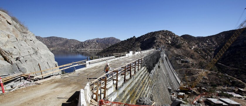 The San Vicente Dam has now reached its new full height of 337 feet, allowing it to hold 242,000 acre-feet.