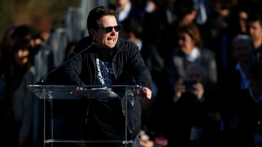 Michael J. Fox speaks at UTA's United Voices rally.