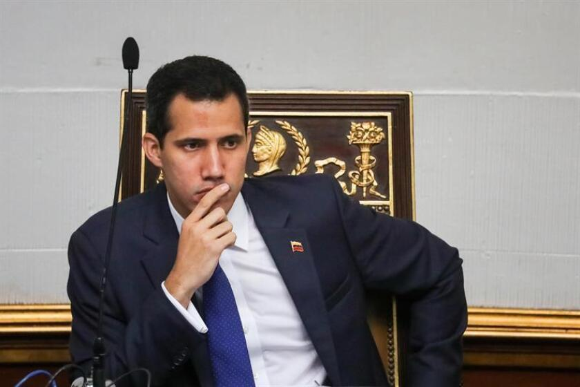 Venezuelan National Assembly President Juan Guaido takes part in a session of the legislative body in Caracas, Venezuela, 05 February 2019. EFE-EPA/ Miguel Gutierrez