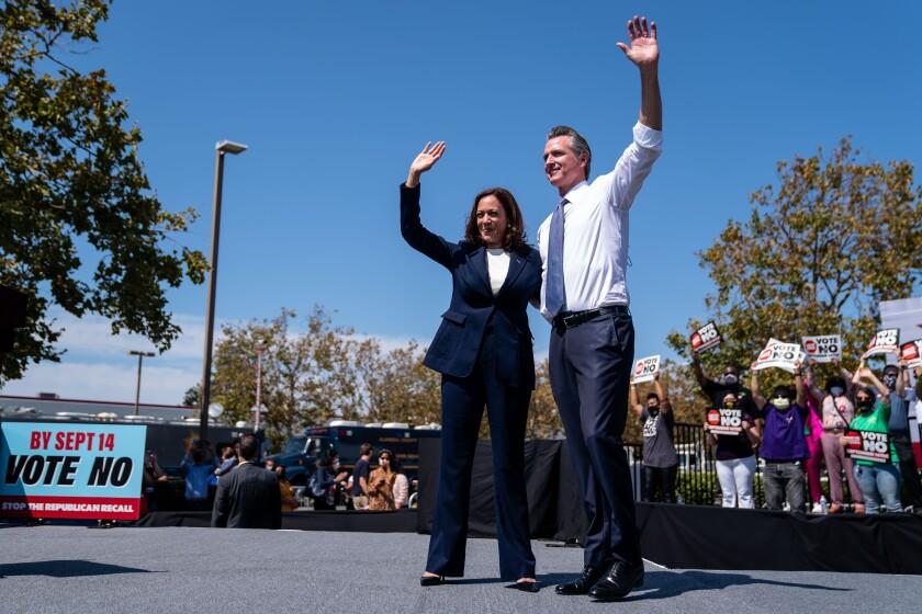 Vice President Kamala Harris and Gov. Gavin Newsom