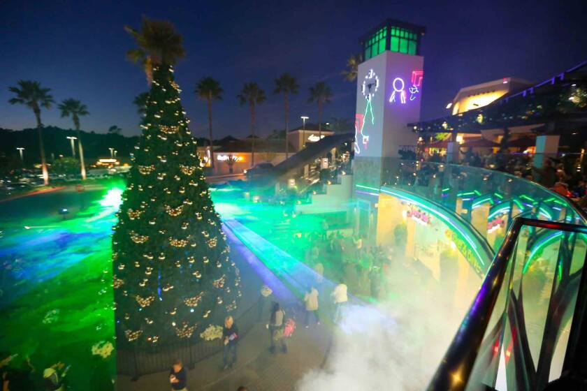 Del Mar Highlands Town Center's tree lighting features two laser light shows on Dec. 7.