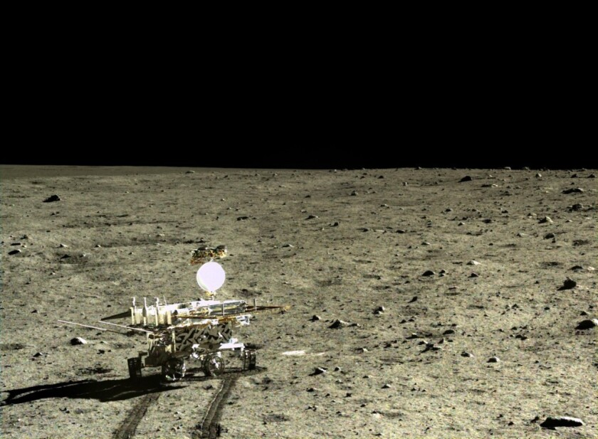 This image shows China's Chang'e 3 Yutu rover on the moon. The rover has found evidence of a new type of rock.