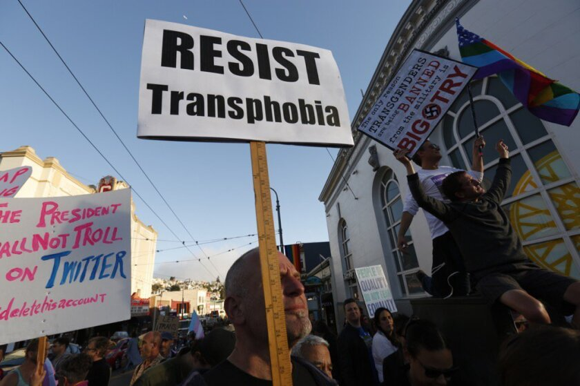 A large crowd rallies against President Trump's ban in the Castro District of San Francisco.