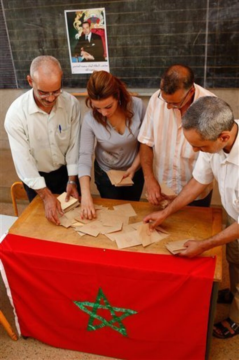 Officials and the president of the polling station count the ballots in a polling station in Rabat, Morocco, Friday July 1, 2011. Moroccans vote Friday on whether to adopt a new constitution that the king has championed as an answer to demands for greater freedoms , but that protesters say will still leave the monarch firmly in control. (AP Photo/Abdeljalil Bounhar)