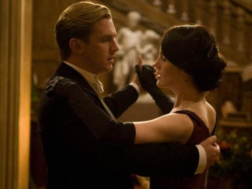 Dan Stevens, left, as Matthew Crowley and Michelle Dockery as Mary Crawley.