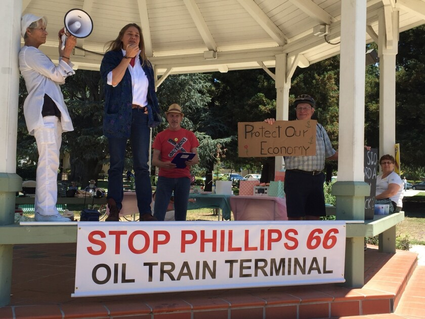 Arlene Burns, the mayor of the tiny Oregon town of Mosier, shares the story of what happened on June 7, when an oil train on Union Pacific tracks derailed. She appeared at a rally against a proposed new rail facility at a Phillips 66 refinery in Santa Maria.