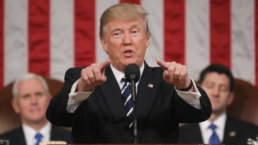 President Trump delivers his first address to a joint session of Congress on Tuesday.