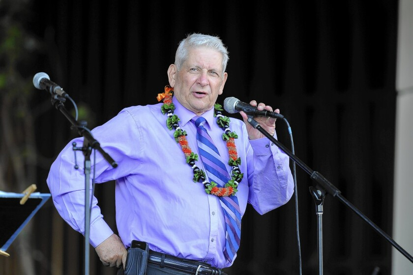 Hawaii state Sen. Sam Slom speaks at a rally in Honolulu against legislation that would legalize same-sex marriage in the state. He is the only Republican out of 25 members of the Senate.