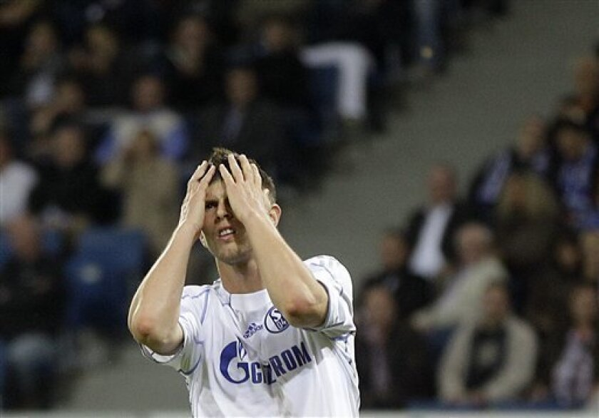 Schalke's Klaas-Jan Huntelaar of The Netherlands reacts during the German first division Bundesliga soccer match between TSG 1899 Hoffenheim and Schalke 04 in Sinsheim, Germany, Friday, Sept. 10, 2010. (AP Photo/Frank Augstein)