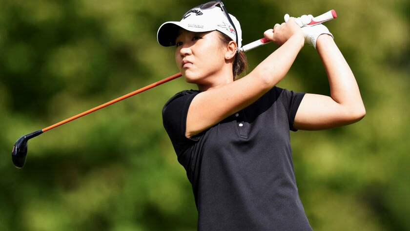 Lydia Ko watches her tee shot during the third round of the Evian Championship on Saturday.