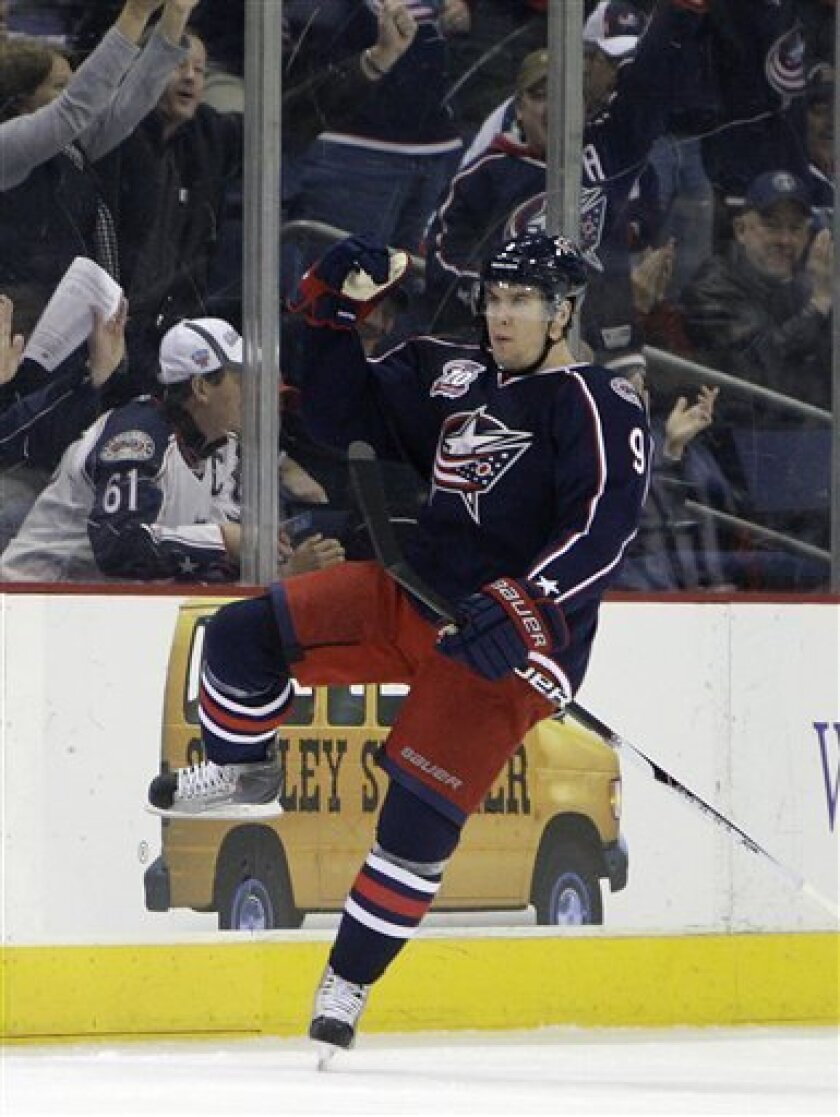 Columbus Blue Jackets' Scottie Upshall celebrates his goal against the Florida Panthers during the first period of an NHL hockey game Tuesday, March 29, 2011, in Columbus, Ohio. The Blue Jackets beat the Panthers 3-2 in a shootout. (AP Photo/Jay LaPrete)
