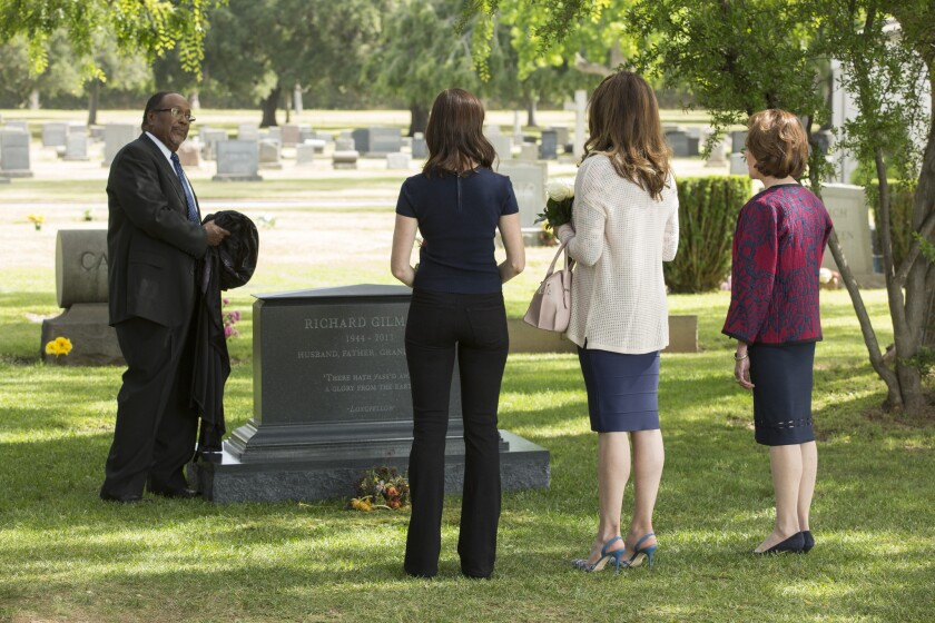 """George Anthony Bell, left, Alexis Bledel, Lauren Graham, and Kelly Bishop in a scene from """"Gilmore Girls: A Year in the Life."""""""