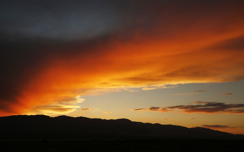 PANAMINT VALLEY, CA - APRIL 25, 2019 - Sunset view of the Panamint Valley; a 65 mile long, 10 mile w