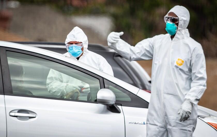 Drive-through coronavirus testing in South L.A.