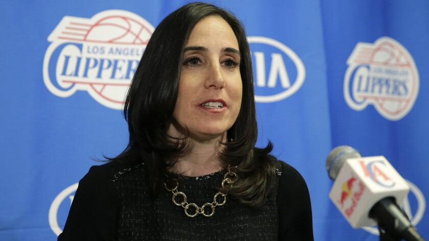 Gillian Zucker, the Clippers' president of business operations, speaks during a news conference at Staples Center on Nov. 8, 2014.