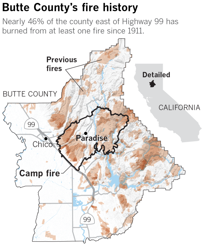 Map of wildfires in Butte County