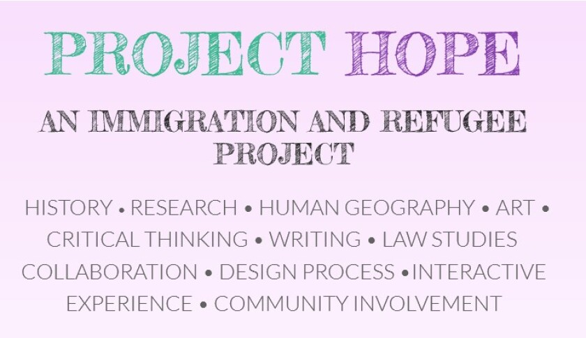 """Seventh graders at Charter School of Morgan Hill completed an immigration research project titled """"Project Hope."""""""