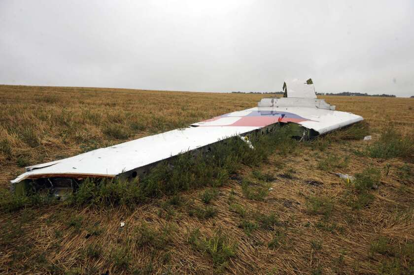 A part of Malaysia Airlines Flight 17 at the crash site in the Ukraine village of Hrabove, east of Donetsk.