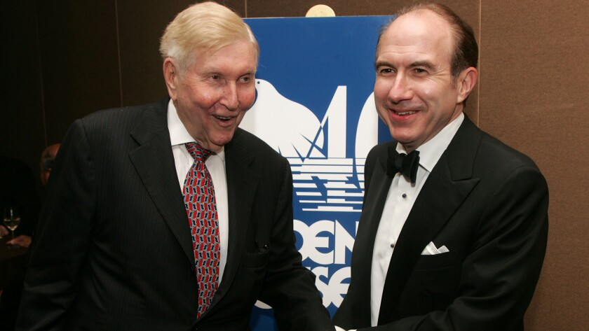 Philippe Dauman (right) and Sumner Redstone attend the 2007 Phoenix House Public Service awards in New York City.