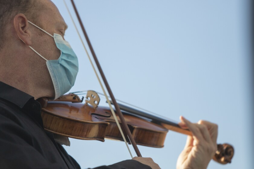 San Diego Symphony Concertmaster Jeff Thayer performs in a Mainly Mozart concert on Saturday, July 11, 2020, in Del Mar.