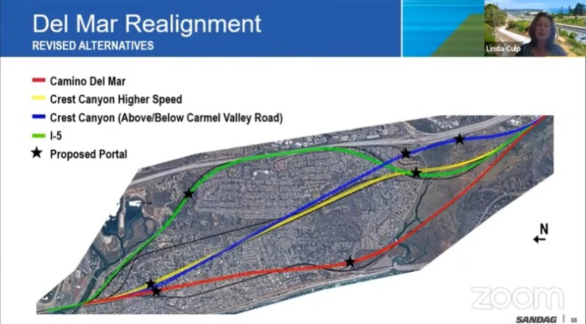 Proposed alignments for the train tunnel through Del Mar.