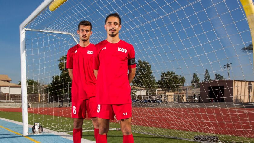 El Cajon Valley high school soccer players Norman Naeem (left) and Matios Murad have learned some Spanish, too.