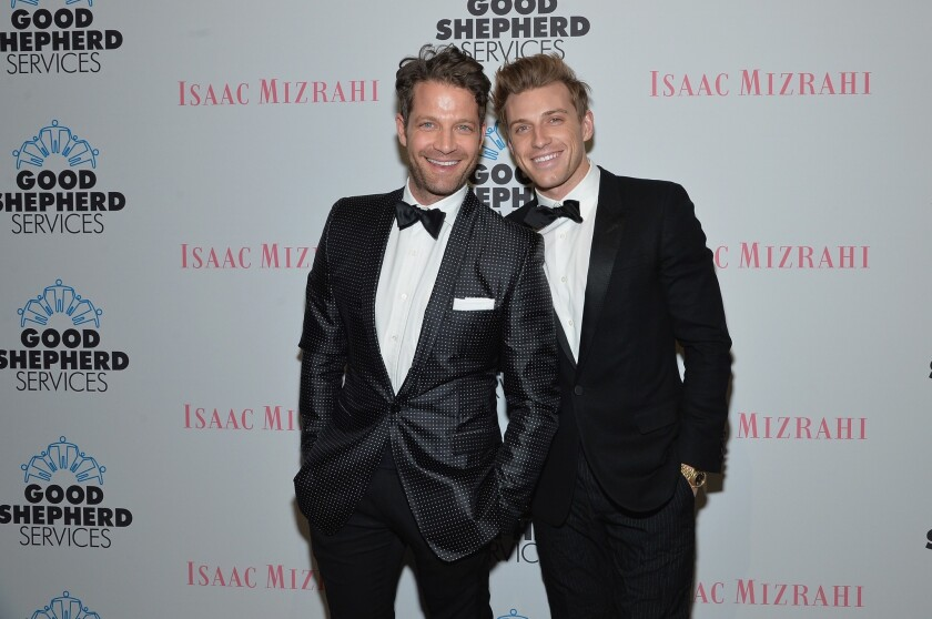 Nate Berkus weds Jeremiah Brent in New York. The couple is shown at the Good Shepherd Services Spring Party hosted by Isaac Mizrahi at Stage 37 in April in New York City.